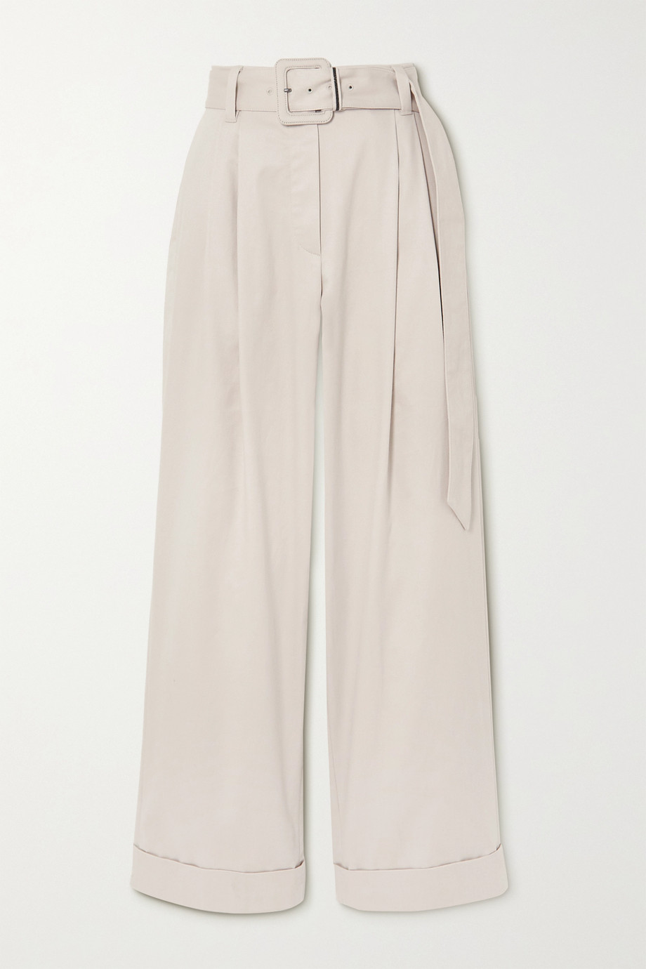 Brunello Cucinelli Belted bead-embellished pleated cotton-blend twill wide-leg pants