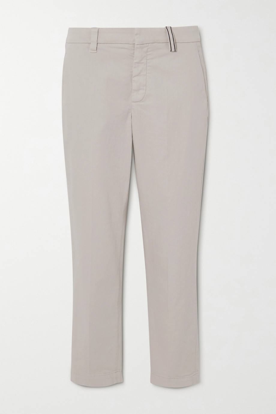 Brunello Cucinelli Bead-embellished stretch cotton and Lyocell-blend twill slim-leg pants