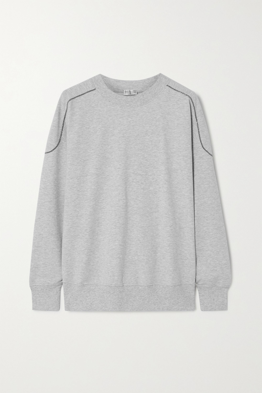 Brunello Cucinelli Bead-embellished mélange stretch-cotton jersey sweatshirt