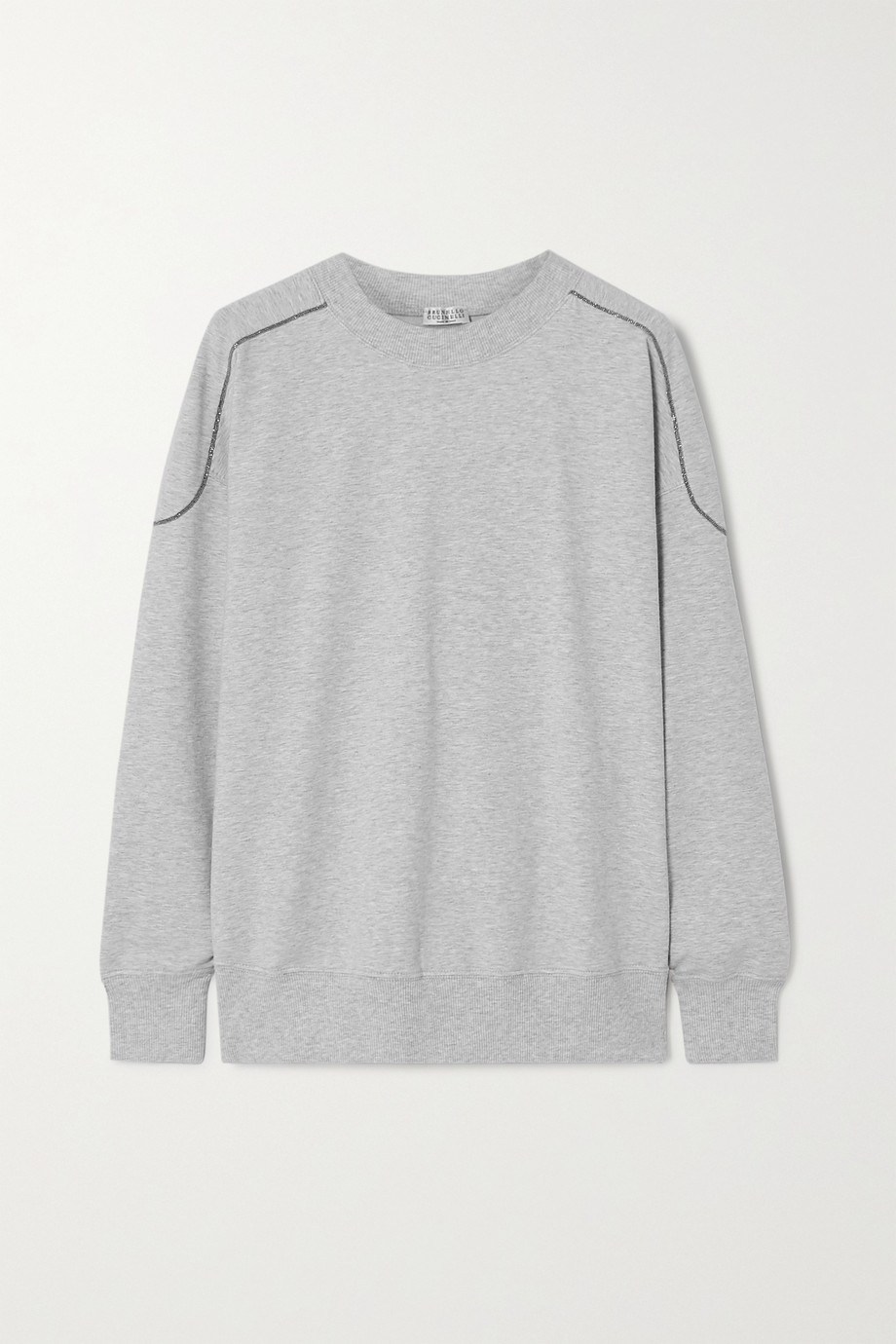 Brunello Cucinelli Bead-embellished mélange stretch-cotton jersey sweatshirt
