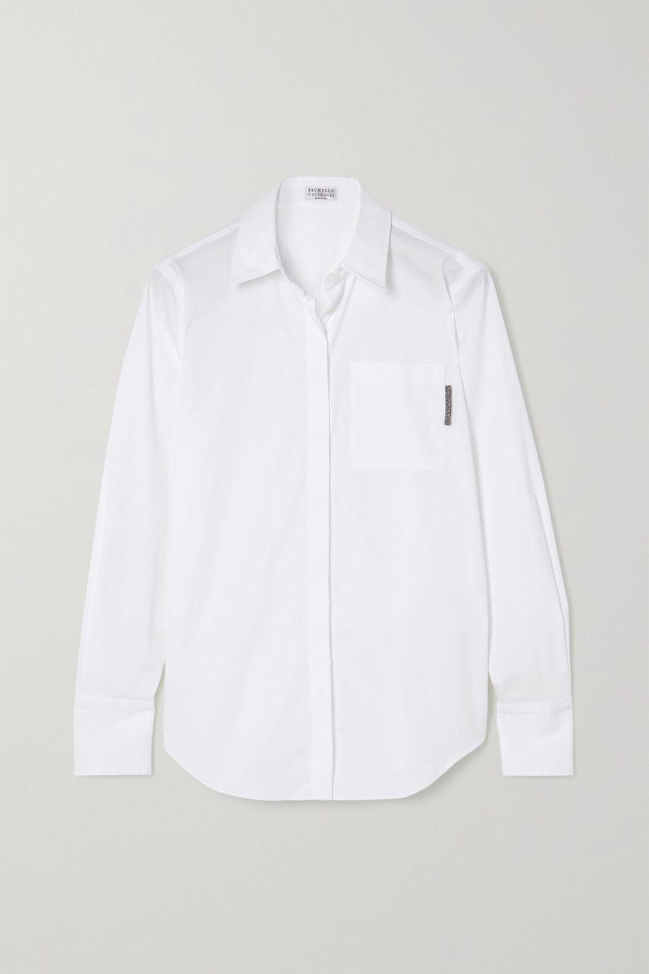 Brunello Cucinelli Bead-embellished cotton-blend Oxford shirt