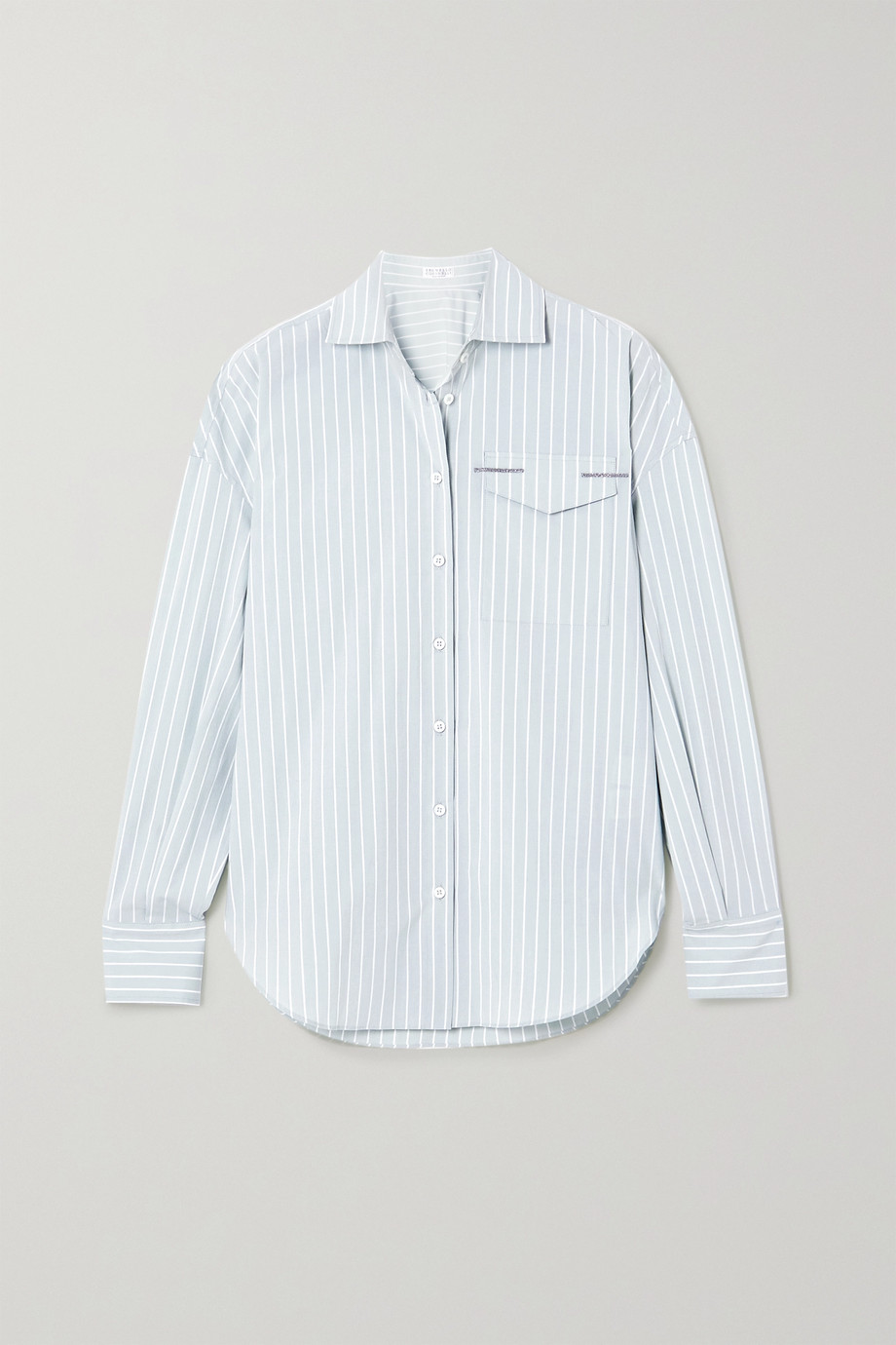 Brunello Cucinelli Bead-embellished striped cotton-blend Oxford shirt