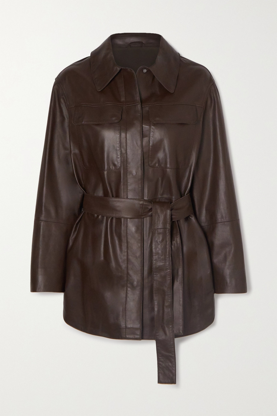 Brunello Cucinelli Belted leather shirt