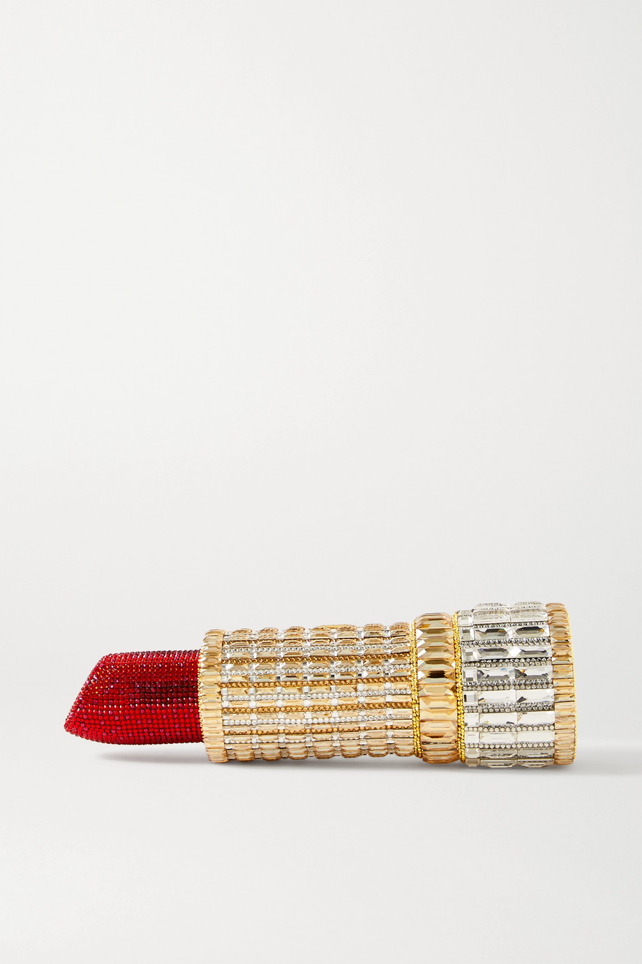Judith Leiber Couture Lipstick Seductress crystal-embellished gold-tone clutch