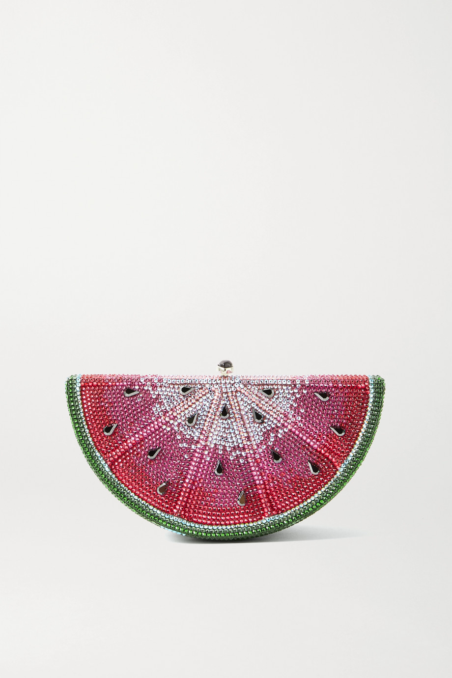Judith Leiber Couture Slice Watermelon crystal-embellished silver-tone clutch