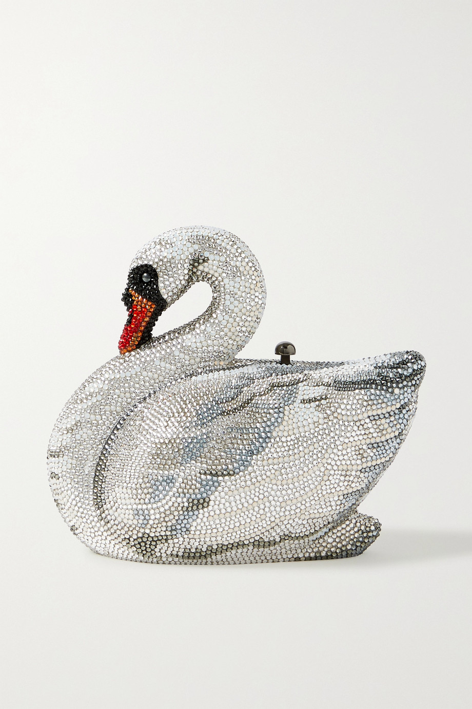 Judith Leiber Couture Swan Odette silberfarbene Clutch mit Kristallen