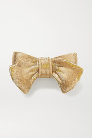 Judith Leiber Couture Bow Just for You crystal-embellished gold-tone clutch