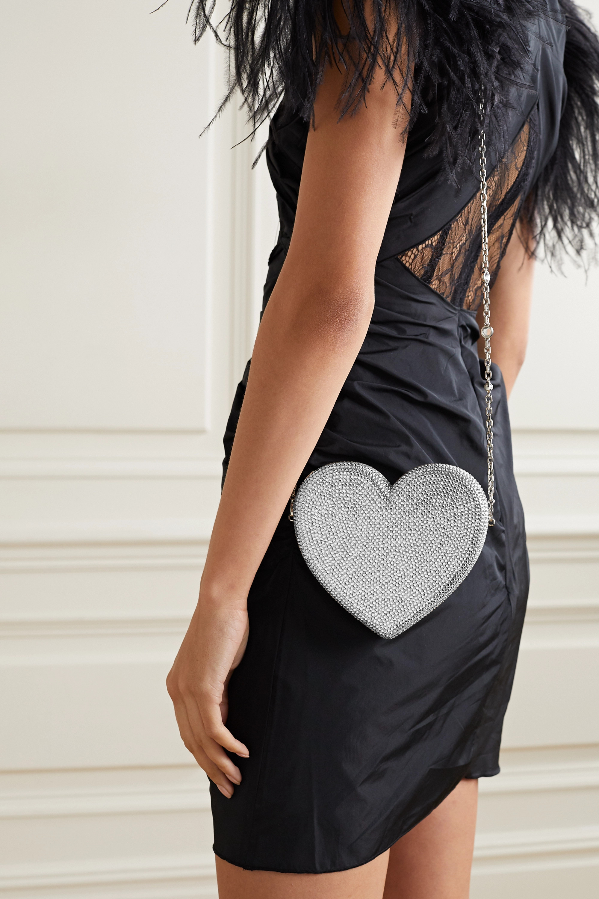 Judith Leiber Couture Heart crystal-embellished silver-tone clutch