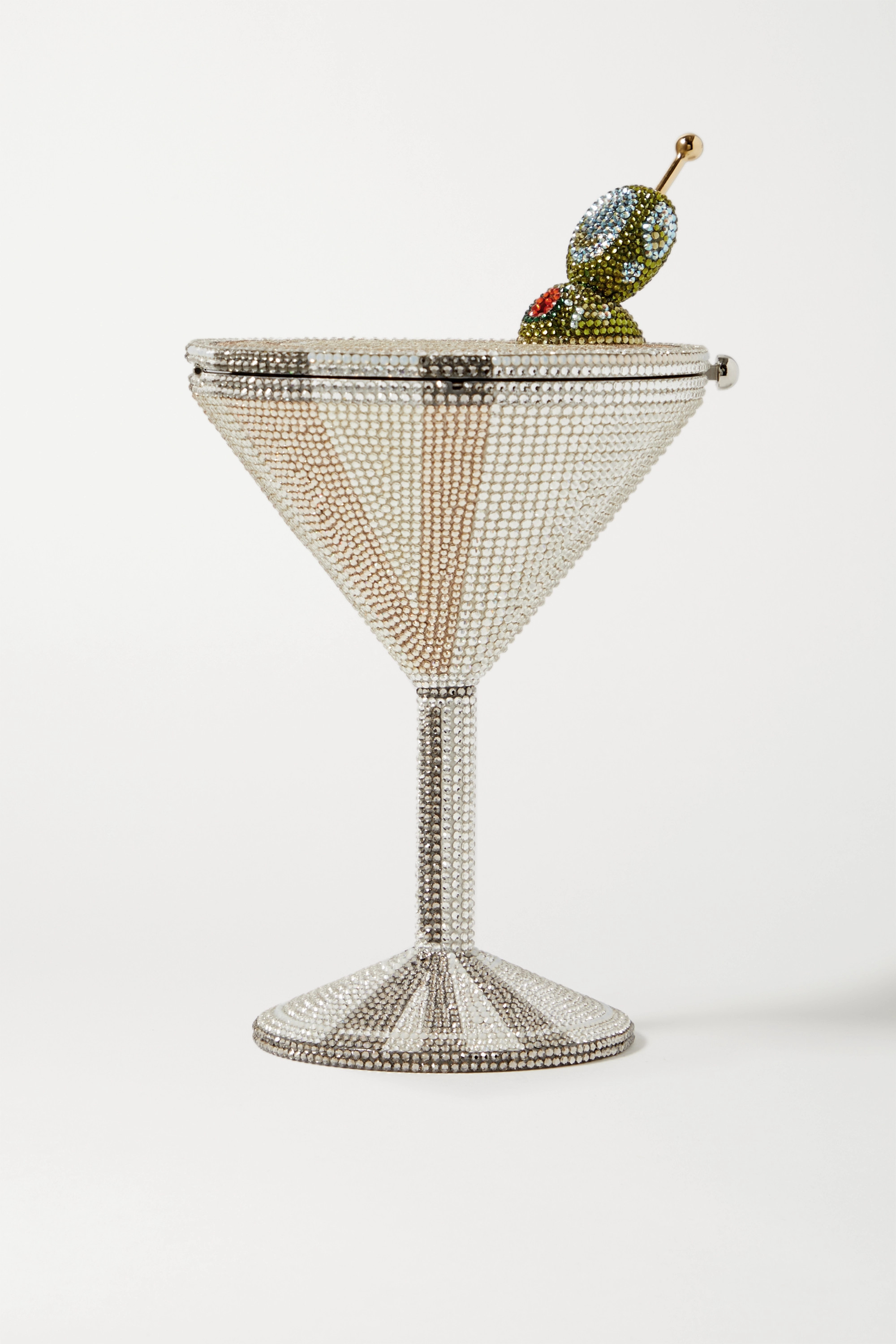 Judith Leiber Couture Martini crystal-embellished silver-tone clutch