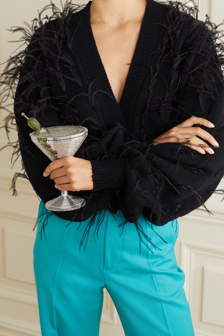 Judith Leiber Couture Martini silberfarbene Clutch mit Kristallen
