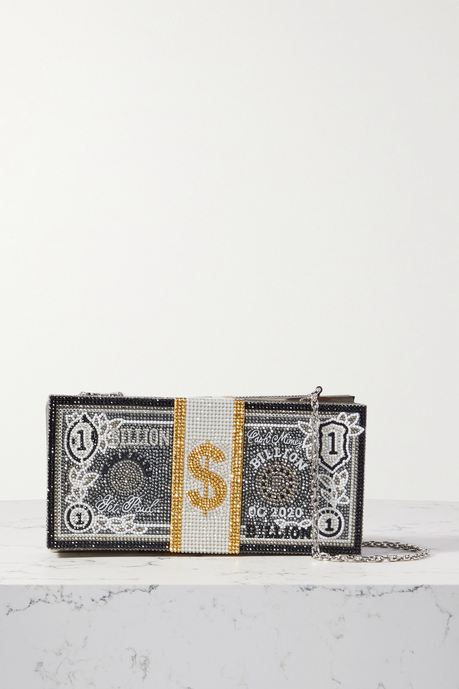 Judith Leiber Couture Stack of Cash Billions crystal-embellished silver-tone clutch