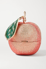 Judith Leiber Couture Peach crystal-embellished rose gold-tone clutch