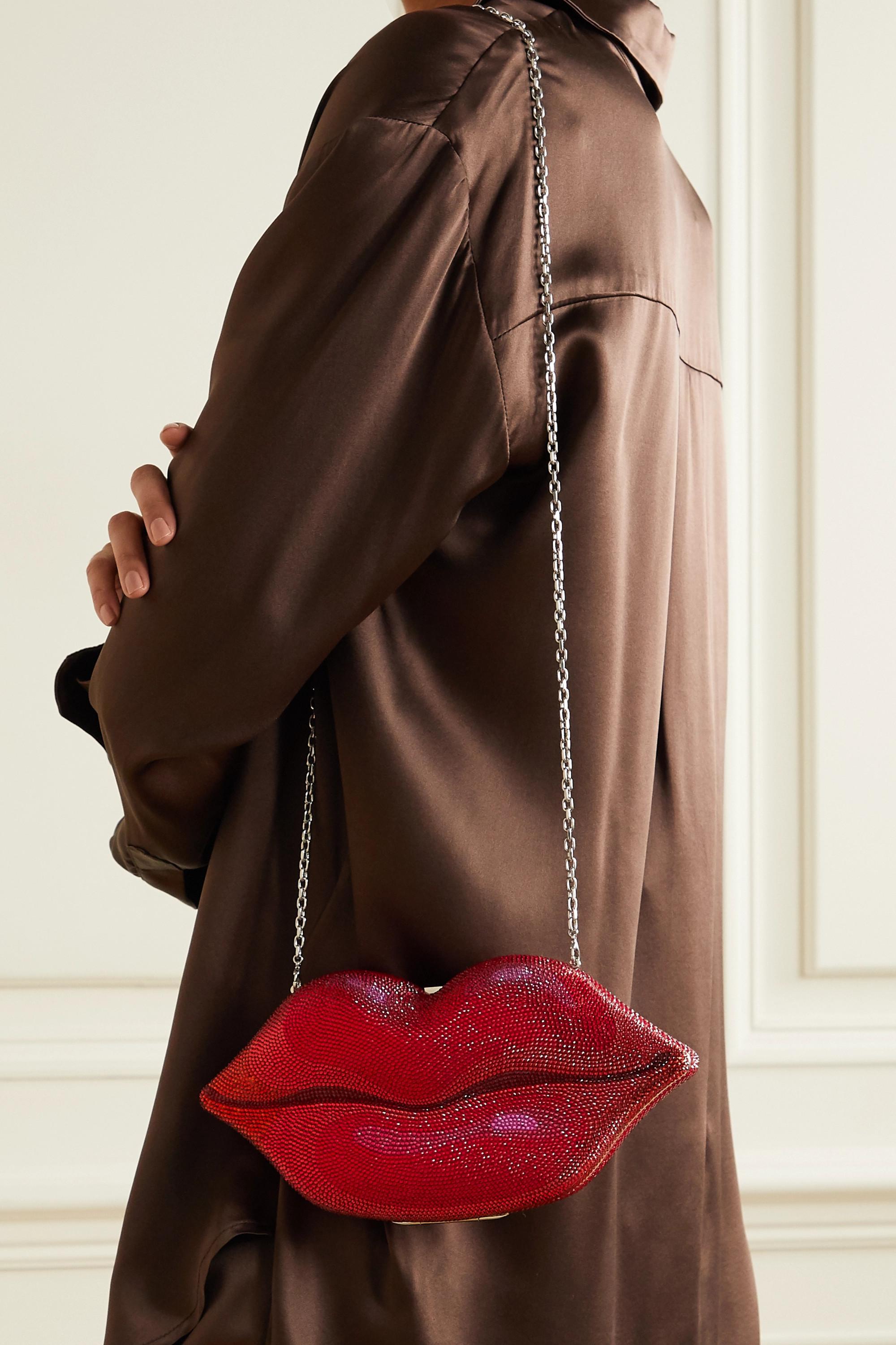 Judith Leiber Couture Hot Lips silberfarbene Clutch mit Kristallen