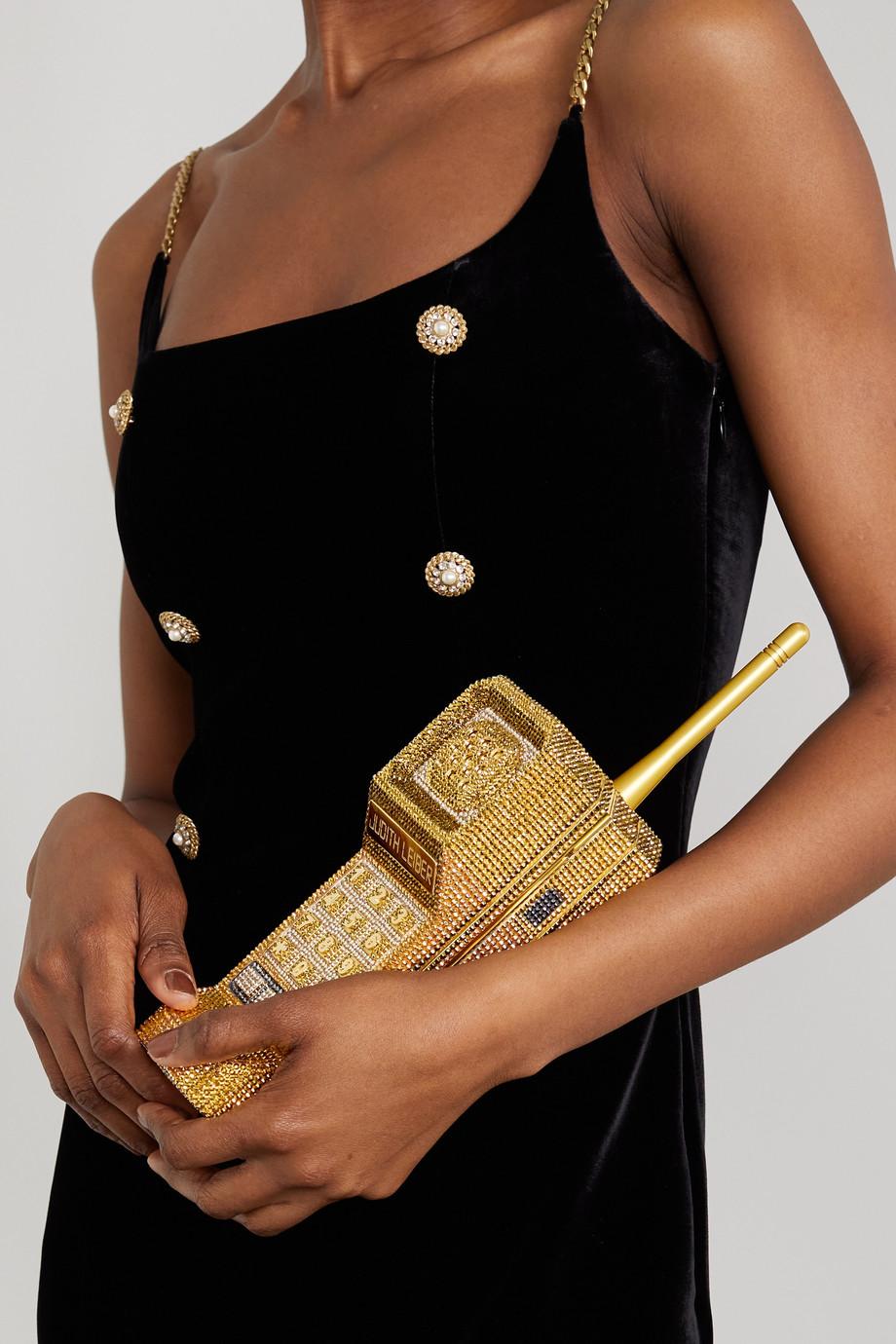 Judith Leiber Couture Brick Phone goldfarbene Clutch mit Kristallen