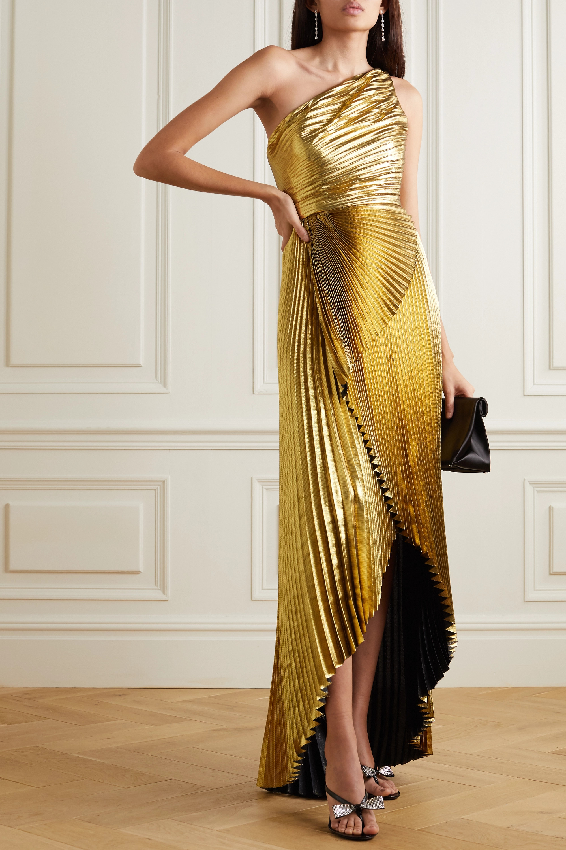 SemSem One-shoulder pleated silk-blend lamé gown