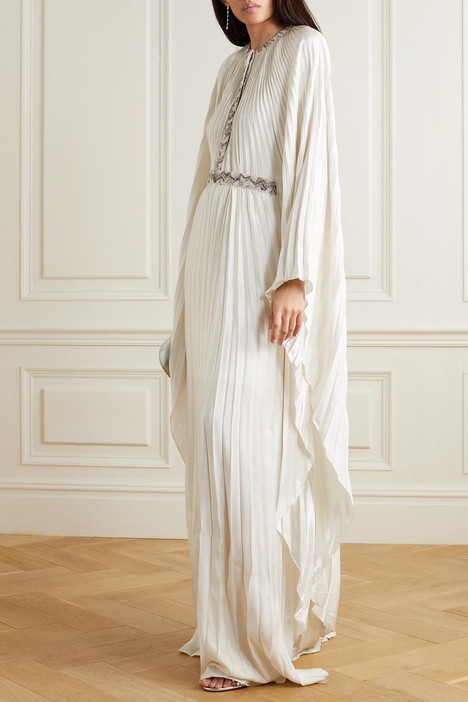 SemSem Cape-effect bead-embellished pleated lamé maxi dress