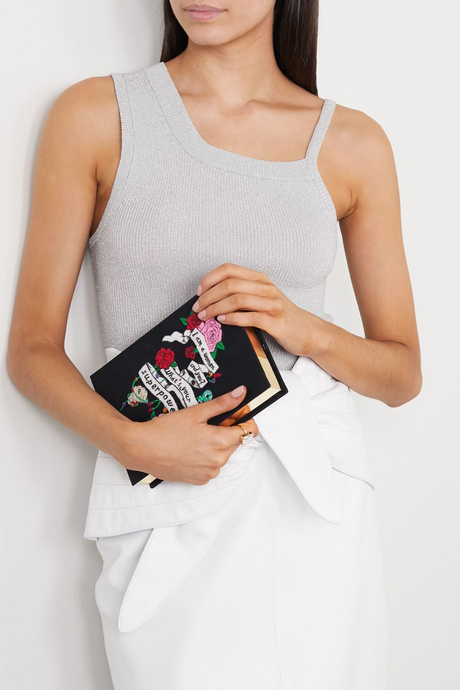 Olympia Le-Tan + International Women's Day appliquéd embroidered canvas clutch