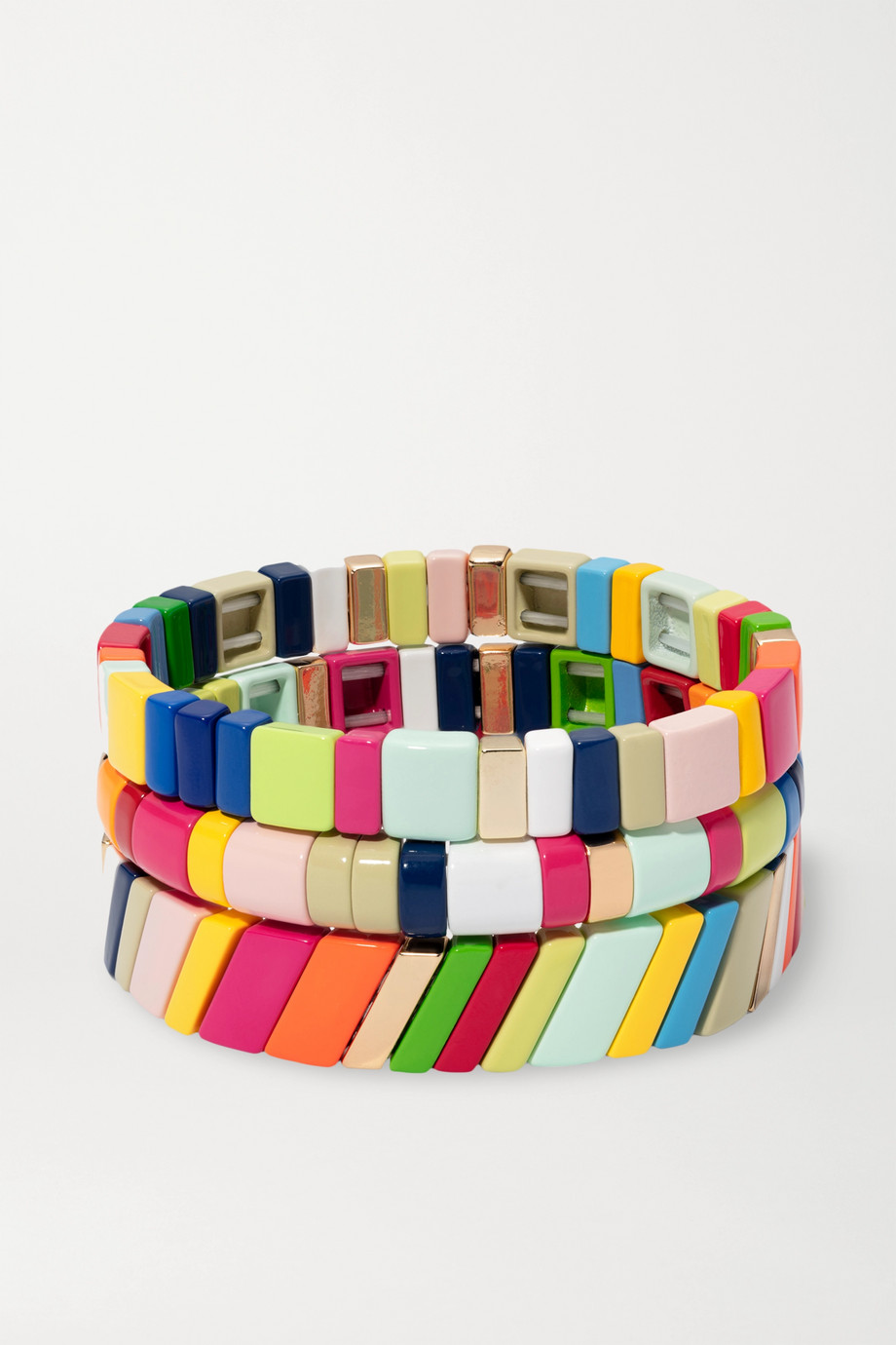 Roxanne Assoulin Fruit Stripe set of three enamel and gold-plated bracelets