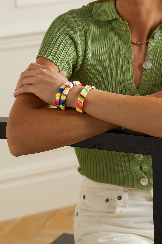 Roxanne Assoulin Set de trois bracelets en émail et plaqué or Fruit Stripe