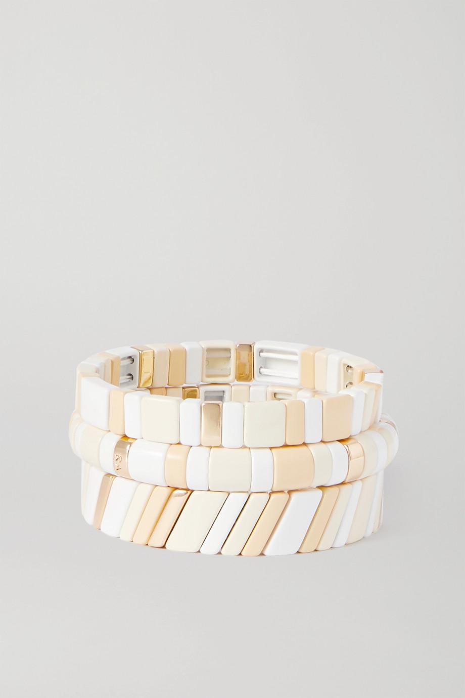 Roxanne Assoulin Triple Creme Set aus drei Armbändern mit Emaille und goldfarbenen Details