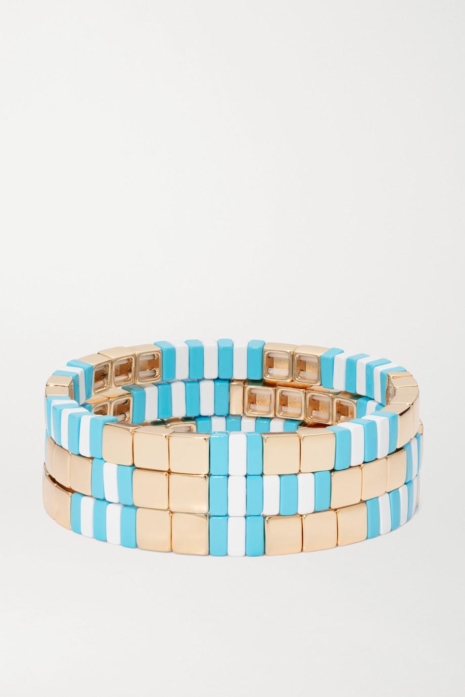 Roxanne Assoulin Set de trois bracelets en émail et plaqué or Poolside