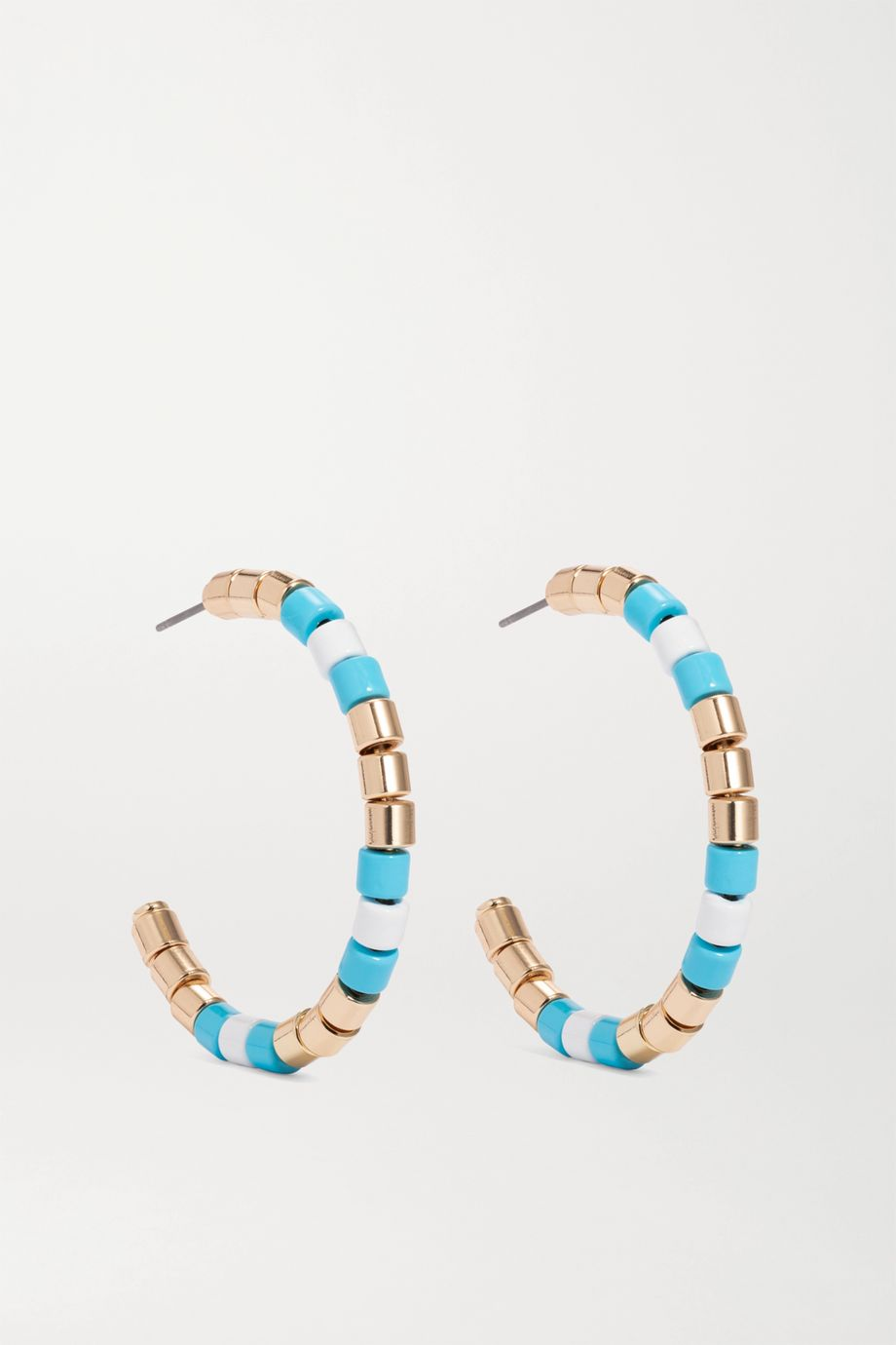 Roxanne Assoulin Poolside enamel and gold-tone hoop earrings