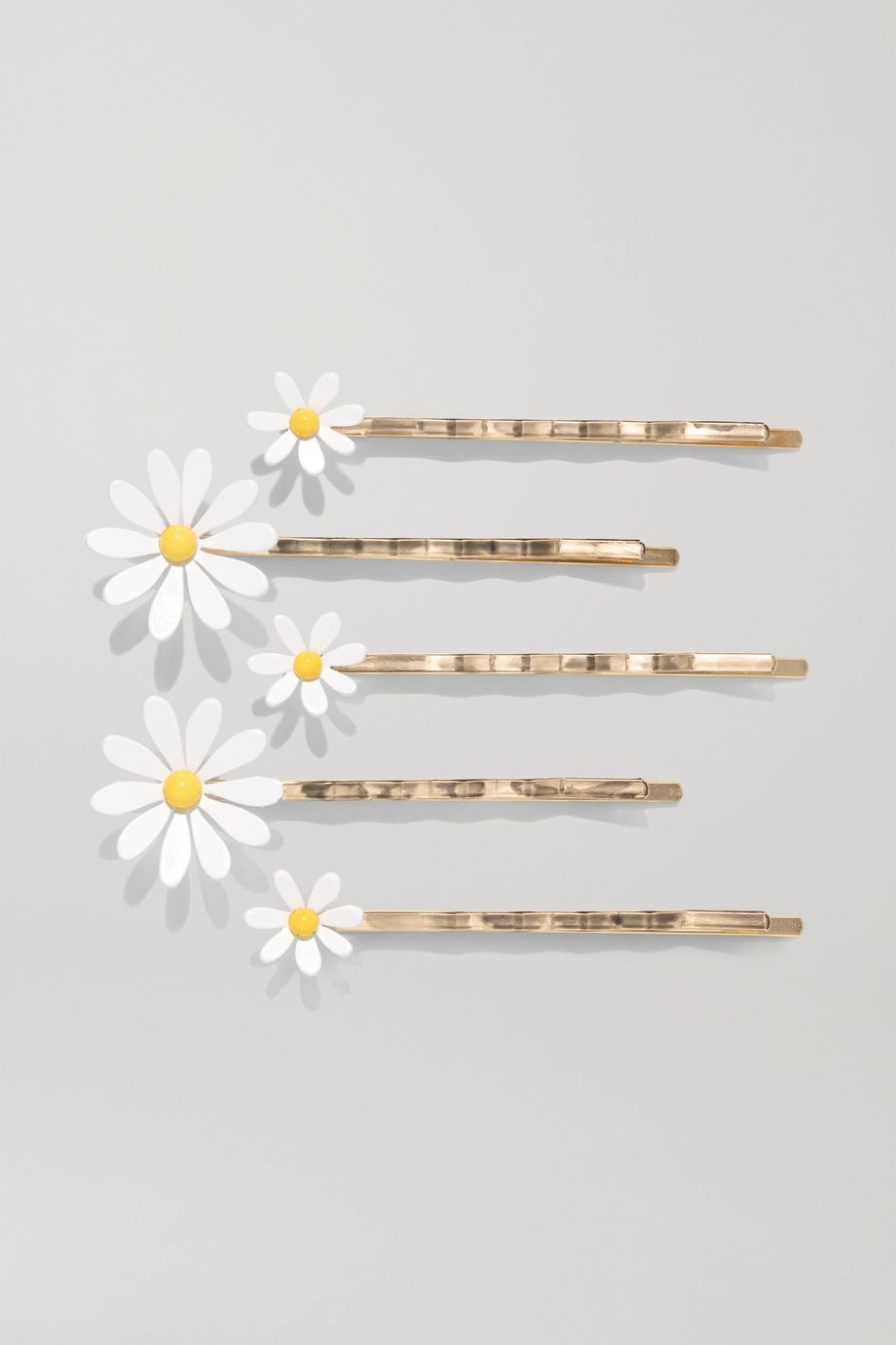 Roxanne Assoulin Everything's Coming Up Daisies set of five enamel and gold-plated hair slides