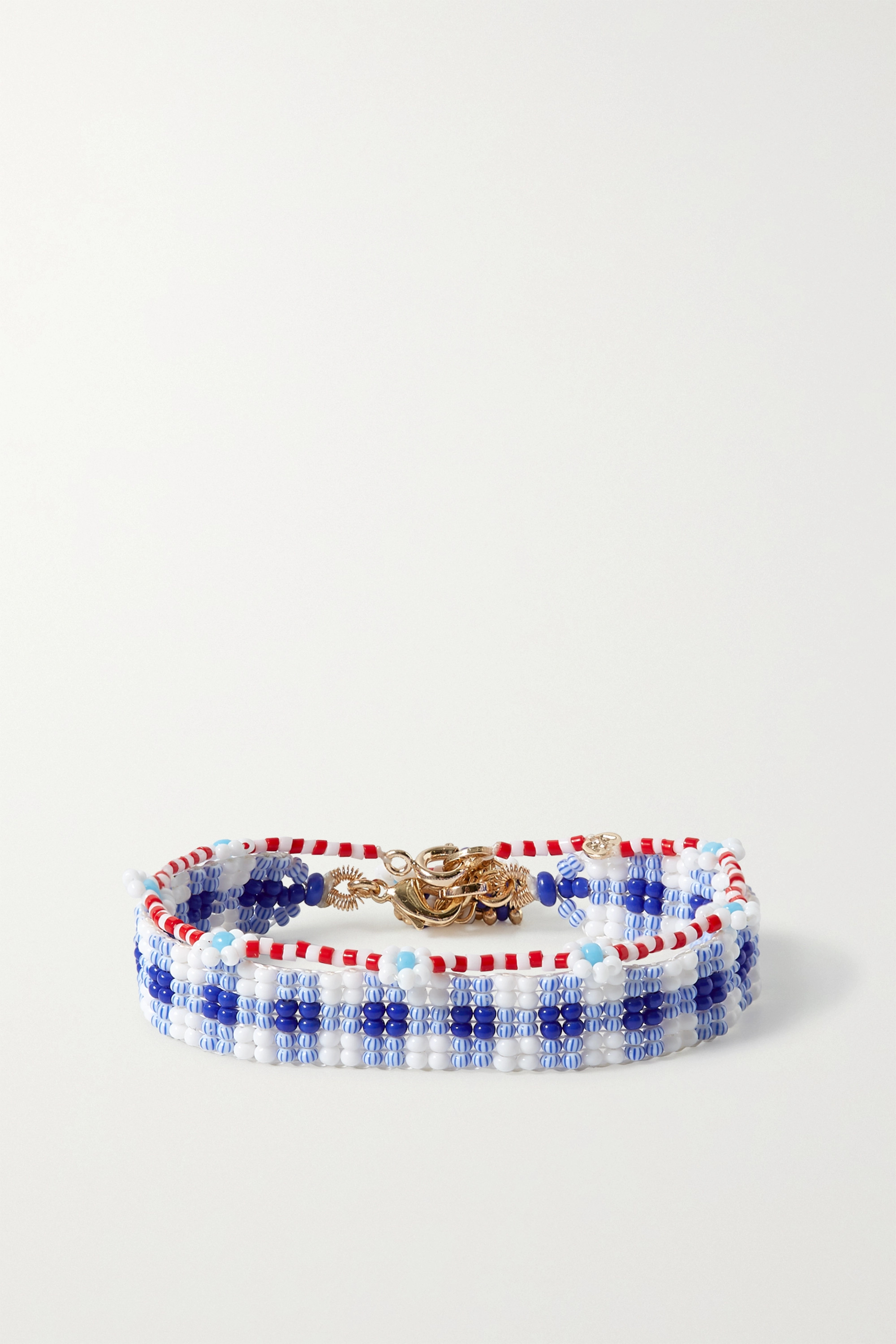 Roxanne Assoulin Gingham and Daisy set of two beaded bracelets
