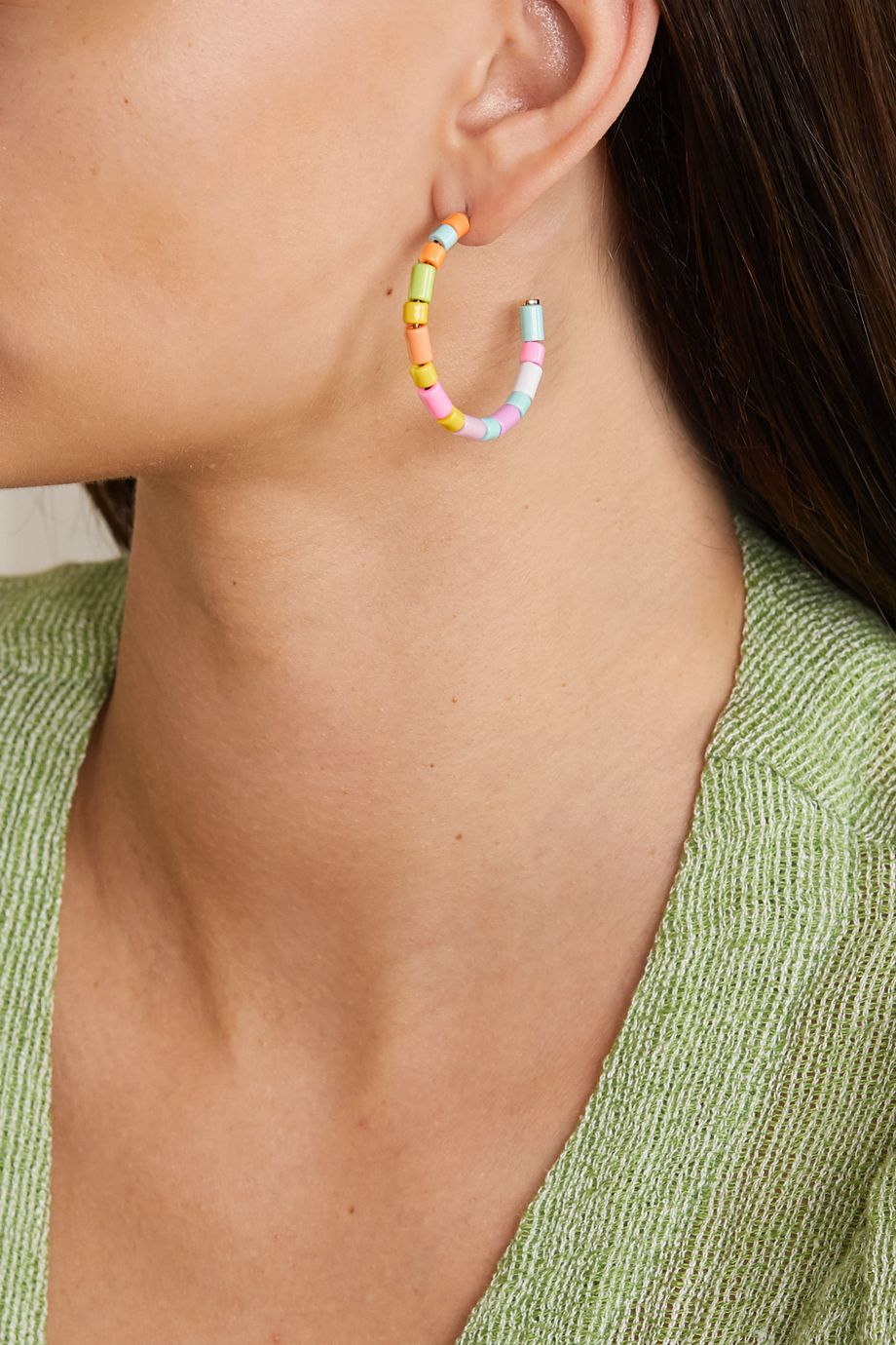 Roxanne Assoulin U-Tube enamel hoop earrings