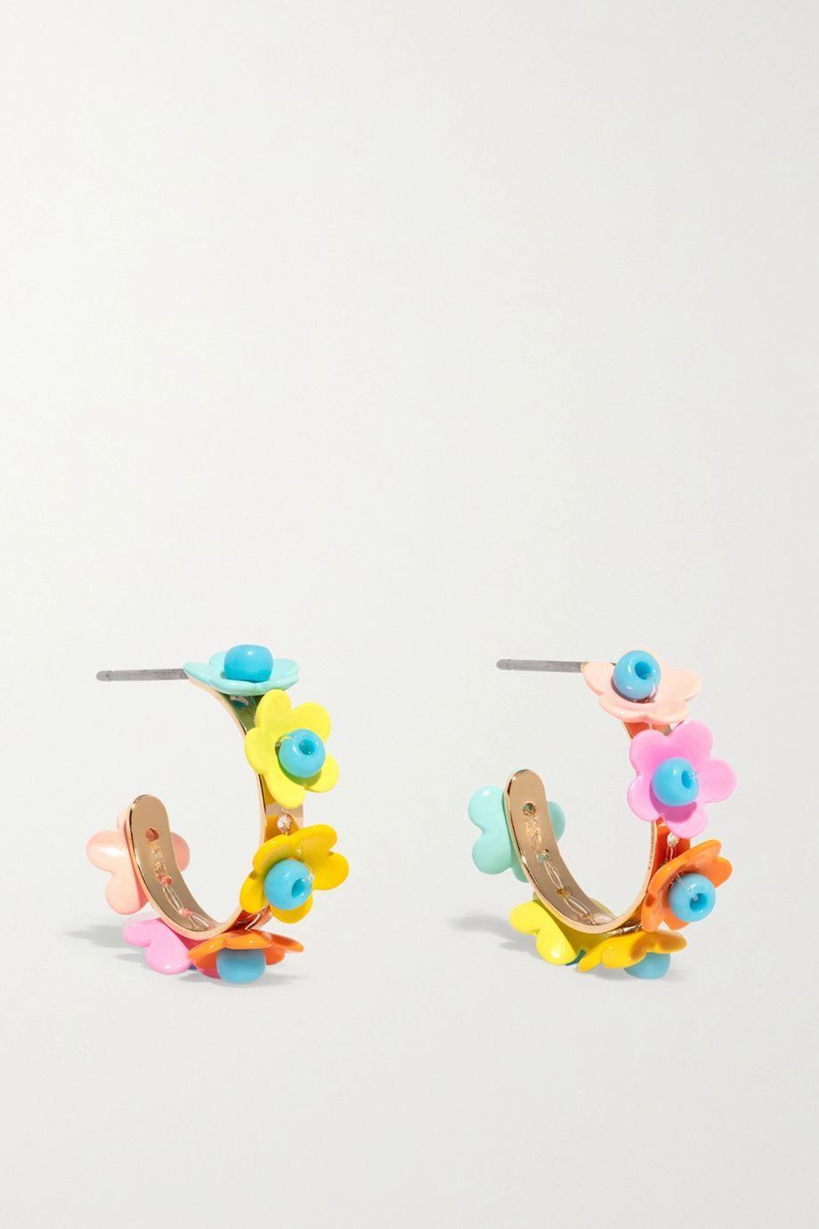 록산느 애슐린 귀걸이 Roxanne Assoulin In Full Bloom enamel and gold-tone hoop earrings,Blue