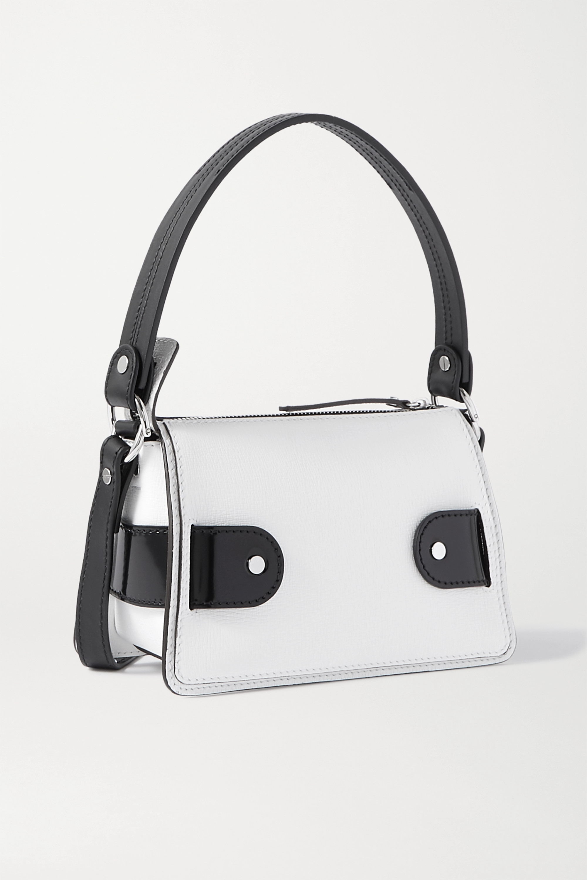 Proenza Schouler Buckle small patent-trimmed textured-leather shoulder bag