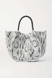 Proenza Schouler Small ruched snake-effect leather tote