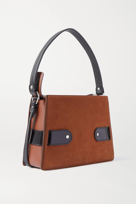 Proenza Schouler Buckle large leather-trimmed suede shoulder bag