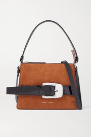 Proenza Schouler Buckle large leather-trimmed suede shoulder bag
