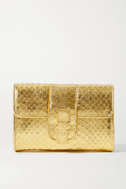 Ximena Kavalekas Rita metallic snake-effect leather clutch