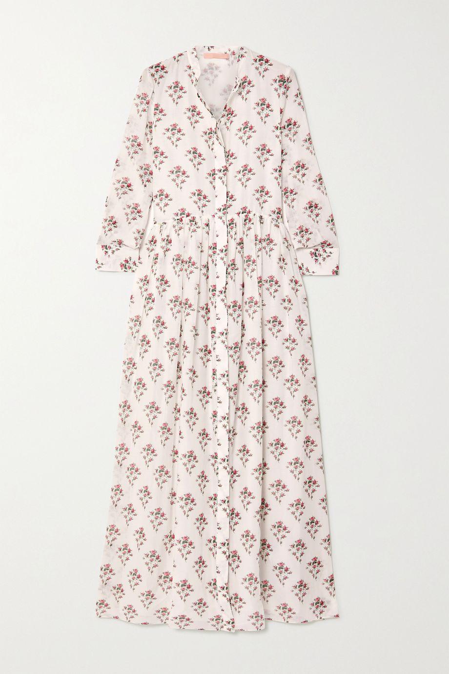 Brock Collection Maxikleid aus einer Baumwoll-Seidenmischung mit Blumenprint