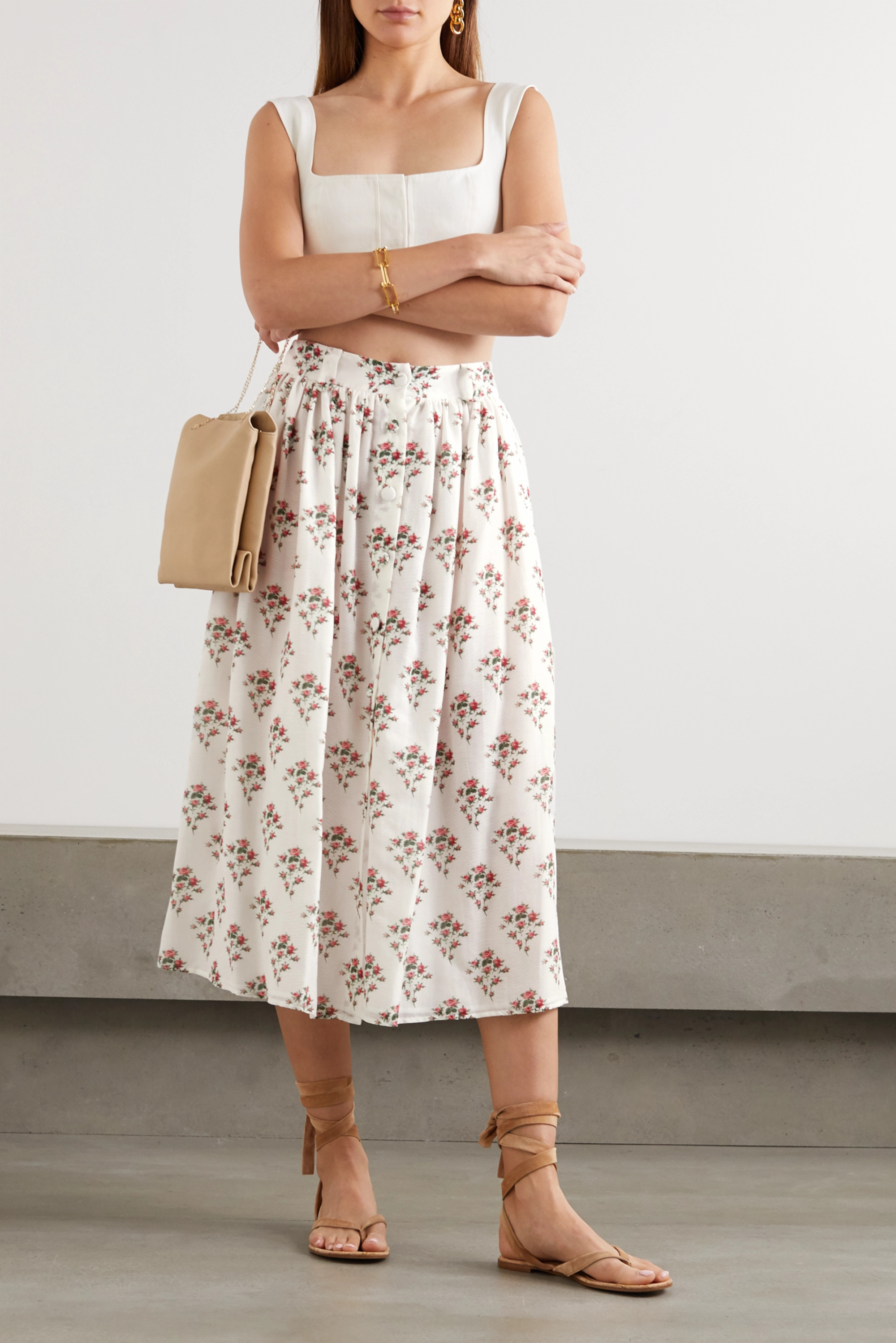 Brock Collection Floral-print cotton and silk-blend midi skirt