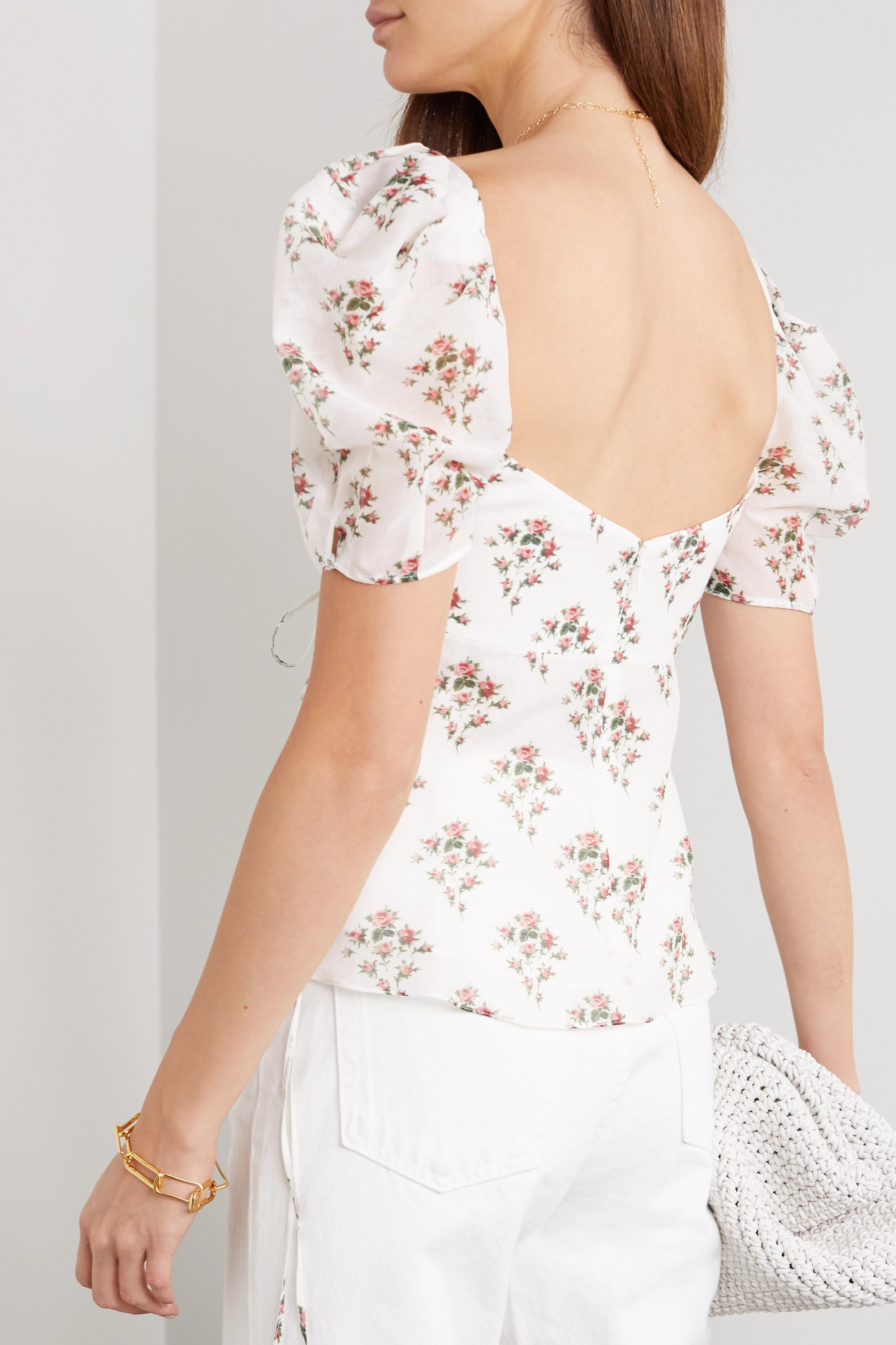 Brock Collection Tie-detailed floral-print cotton and silk-blend top