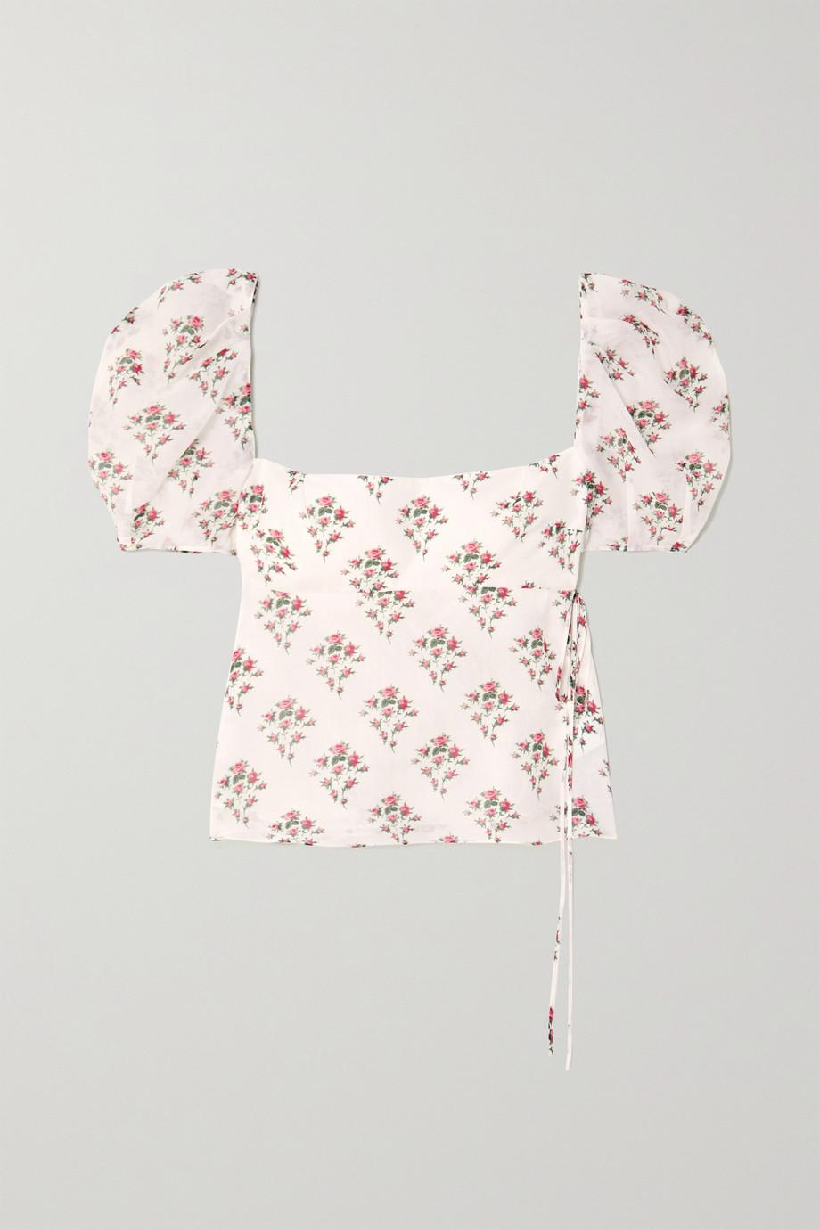 Brock Collection Oberteil aus einer Baumwoll-Seidenmischung mit Blumenprint zum Binden