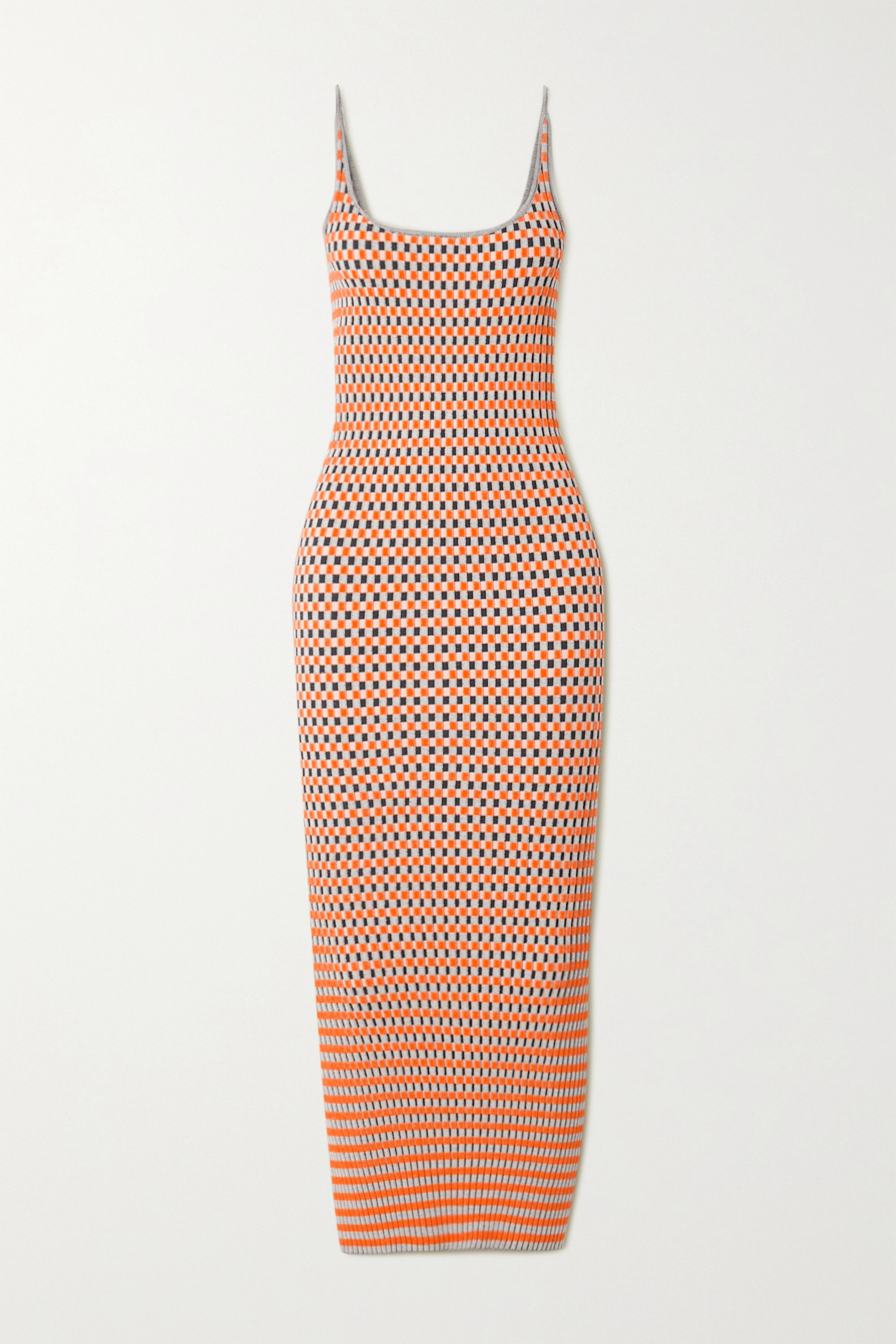 Paco Rabanne Ribbed checked cotton jacquard-knit midi dress