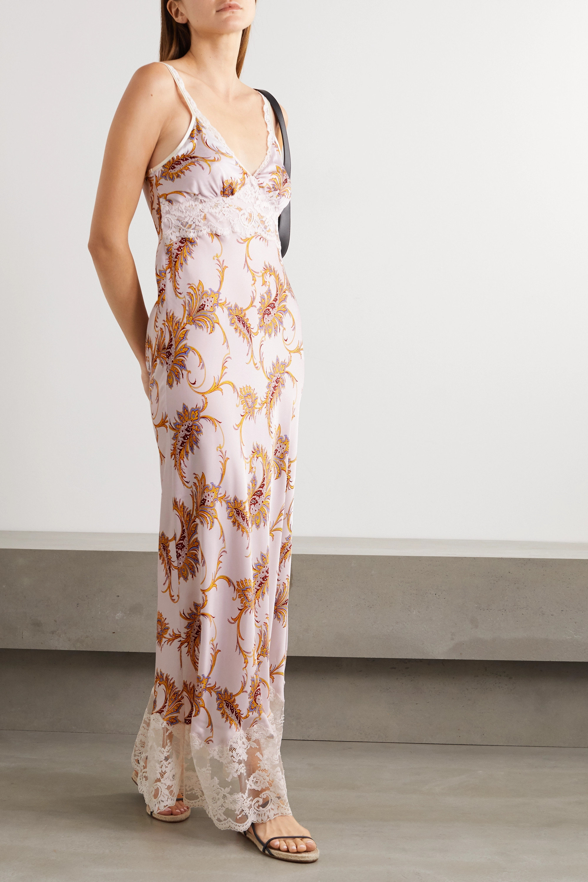 Paco Rabanne Lace-trimmed paisley-print satin maxi dress