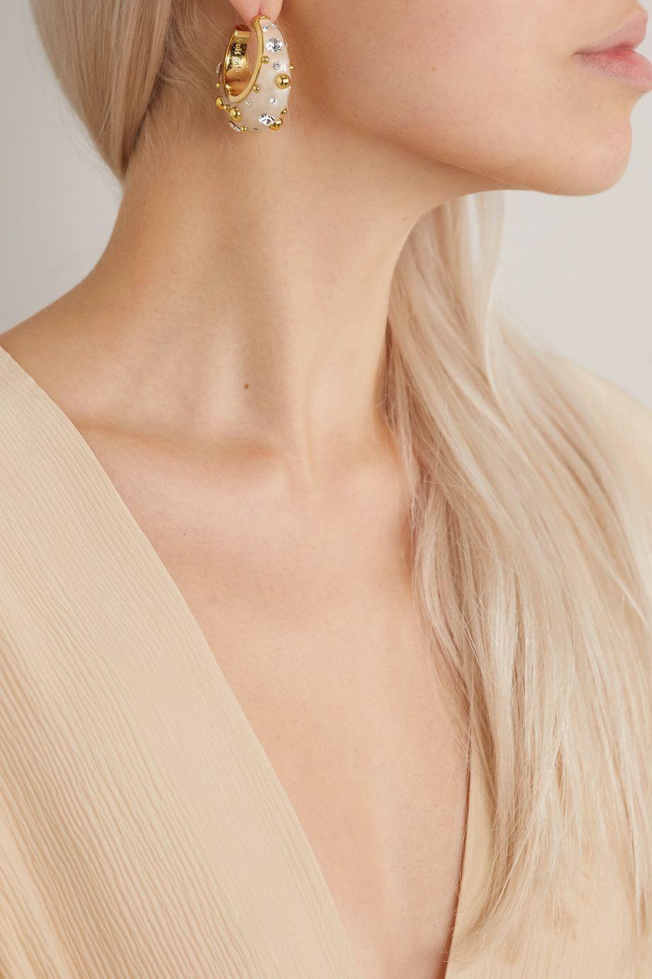 Cult Gaia Mona gold-tone, acrylic and crystal hoop earrings