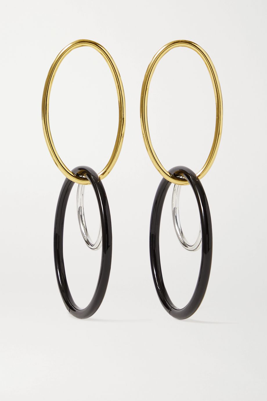 Cult Gaia Tria gold and silver-tone acrylic earrings
