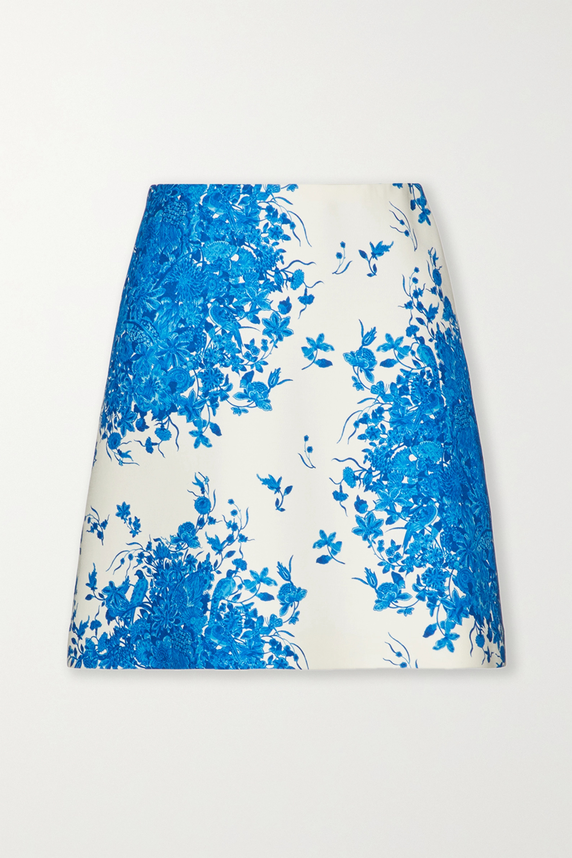 Valentino Printed wool and silk-blend mini skirt