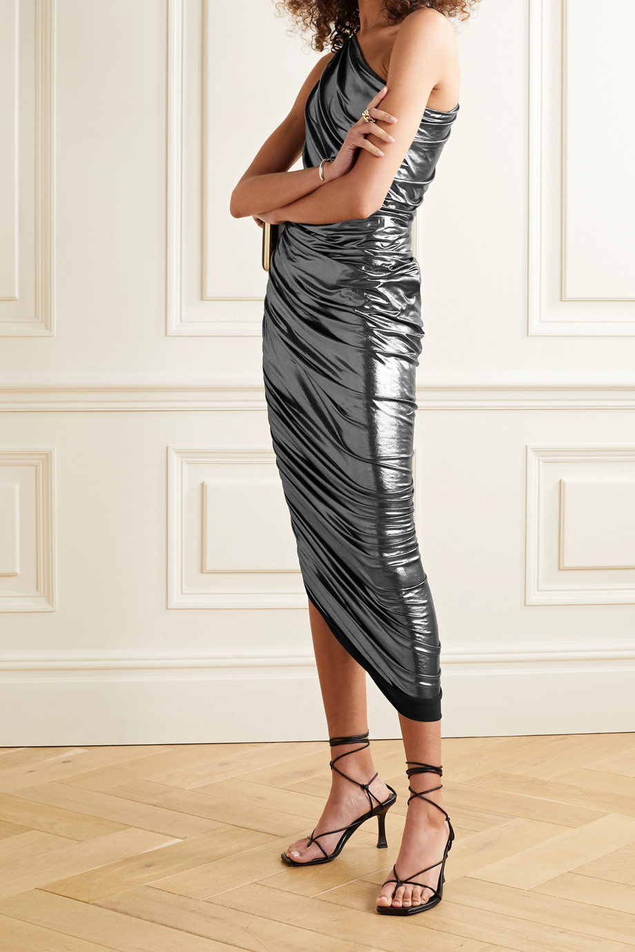 Norma Kamali Diana one-shoulder ruched metallic stretch-jersey dress