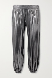 Norma Kamali Metallic stretch-jersey track pants