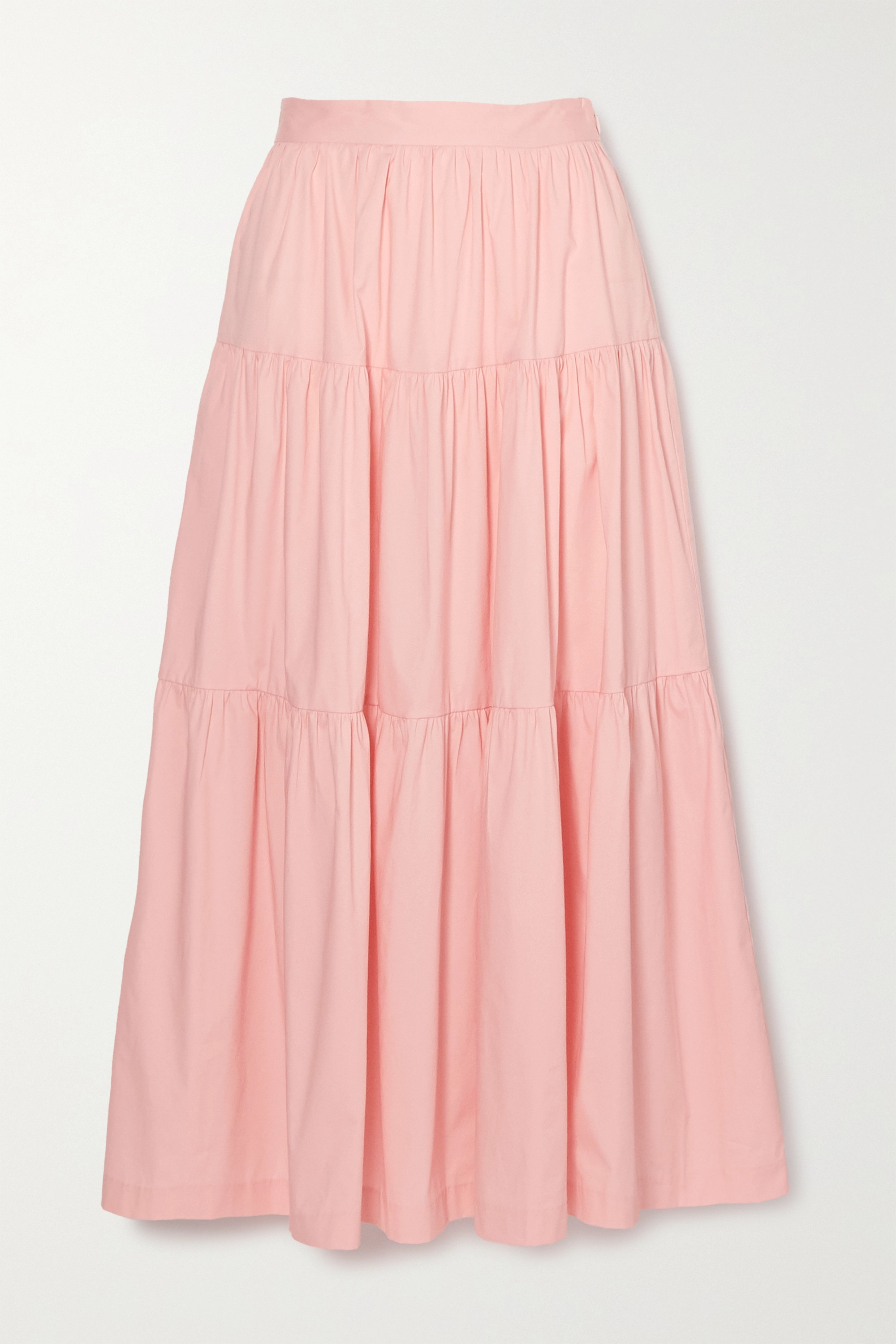 STAUD Sea tiered stretch-cotton poplin maxi skirt