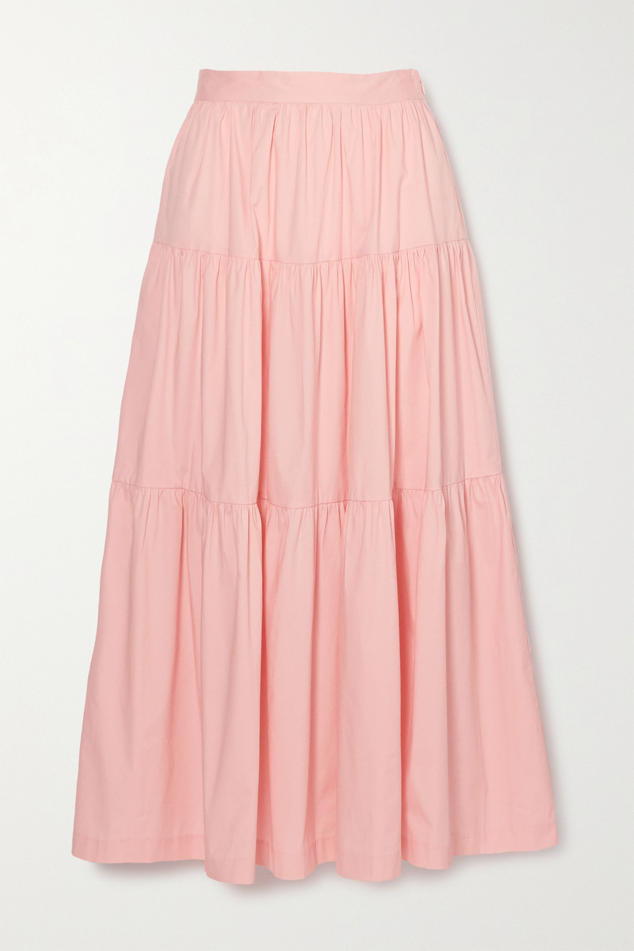 STAUD Sea tiered stretch-cotton poplin maxi skirt