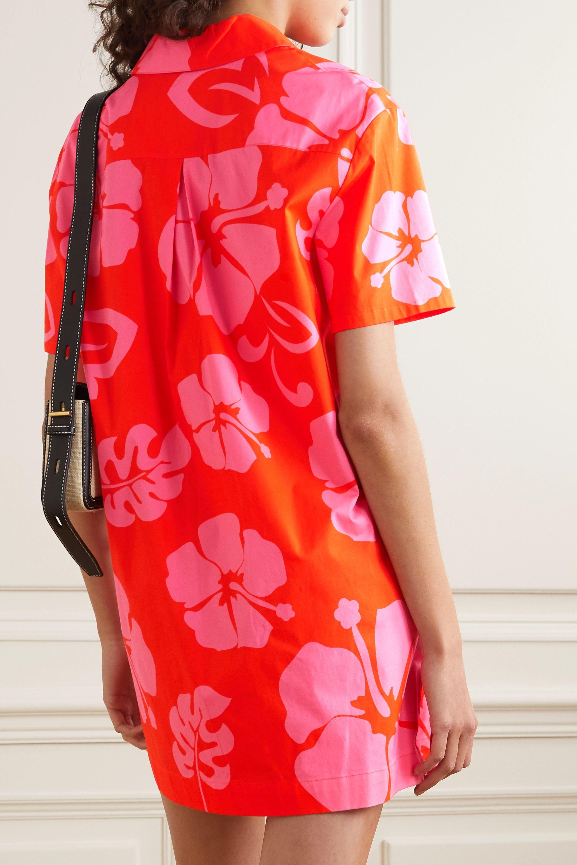 STAUD Floral-print stretch-cotton poplin mini shirt dress