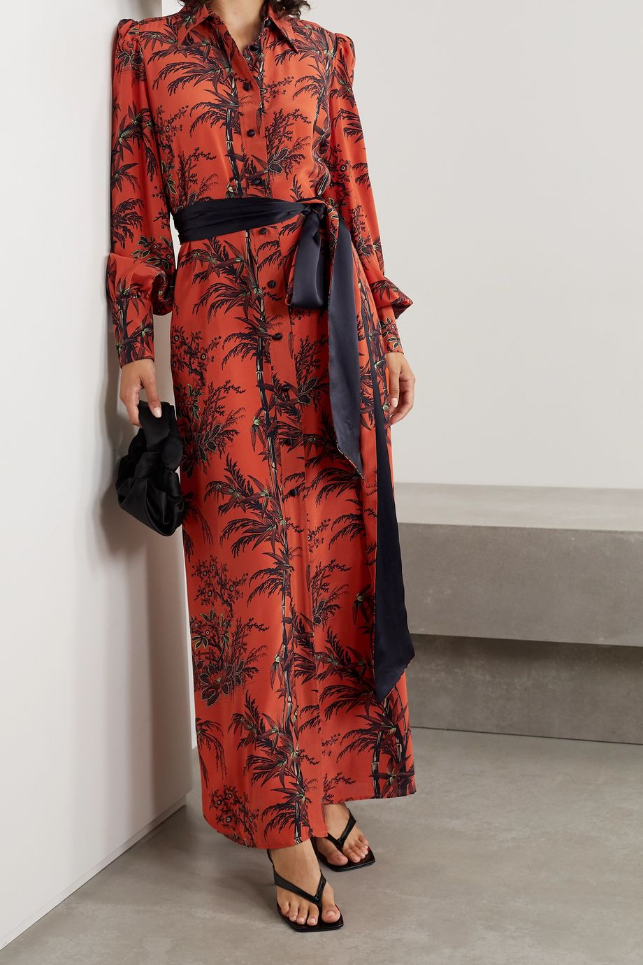 Bella Freud Mood For Love belted printed silk crepe de chine maxi dress